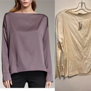 Vince new silk boatneck top size s cream